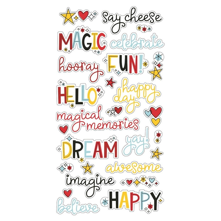 Say Cheese 4 - 6x12 Chipboard Word Stickers