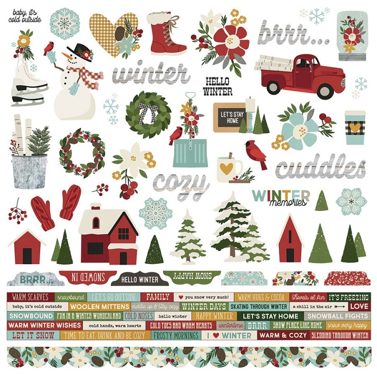 Winter Farmhouse - 12x12 Sticker Sheet