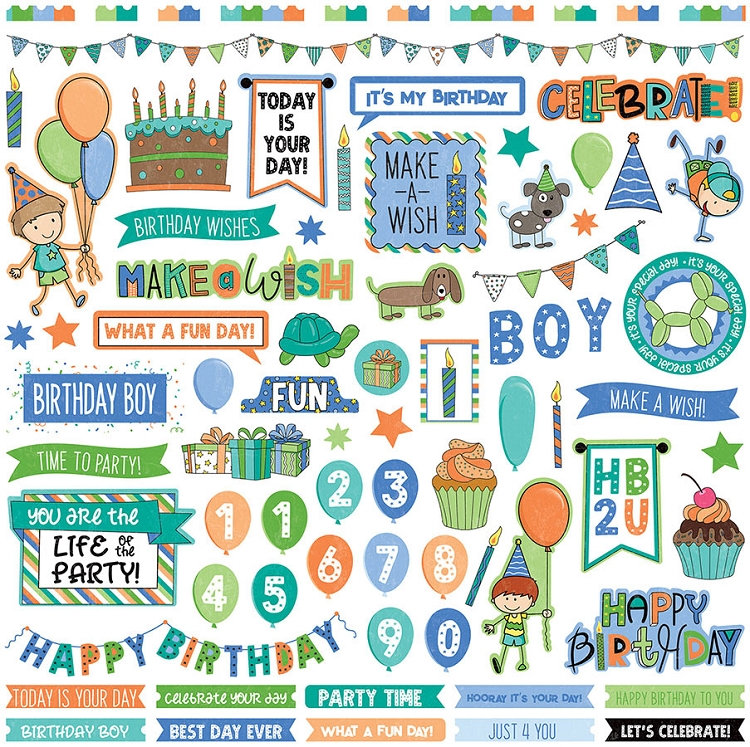 Birthday Wishes Boy Element Sticker