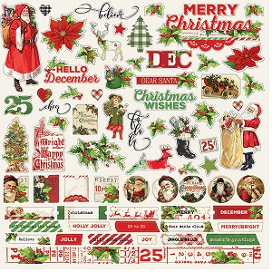 Simple Vintage Christmas 12 x 12 Cardstock Stickers