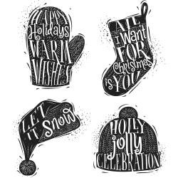 Tim Holtz Cling Stamps Carved Christmas