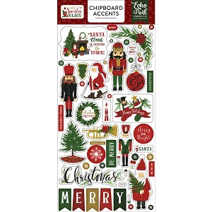 Here Comes Santa Claus - 6x13 Chipboard Accents