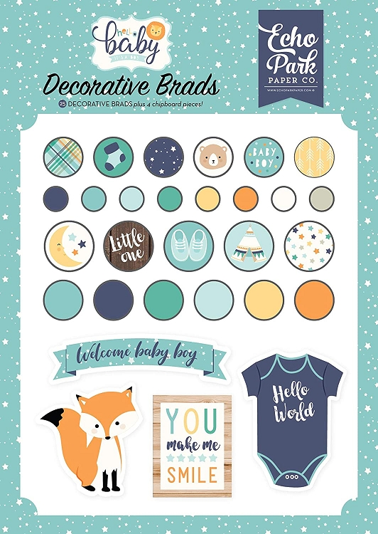 EP Hello Baby Boy Decorative Brads